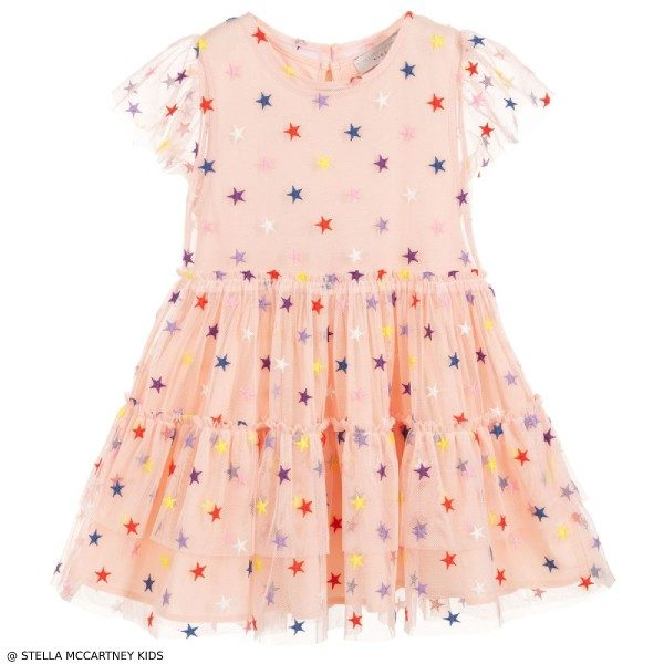 Stella McCartney Kids Pink Tulle Embroidery Stars Dress