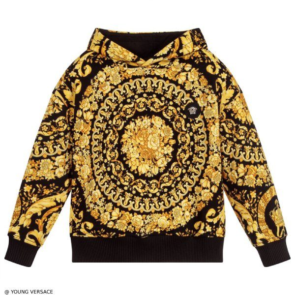 Young Versace BAROQUE Hooded Cotton Sweatshirt