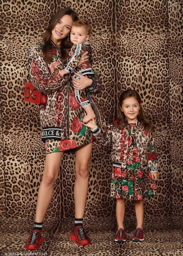 Dolce & Gabbana Mommy & Me Leopard Rose Print Dress