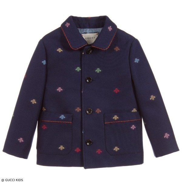 GUCCI Mini Me Baby Blue Bee Print Jacket