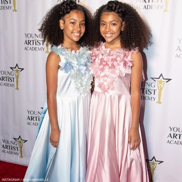Anais & Mirabelle Lee Young Artist Academy Awards Junona Blue Pink Flower Ombre Dress