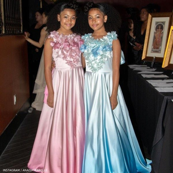 Anais & Mirabelle Lee Young Artist Academy Awards Junona Blue Pink Flower Ombre Dresses