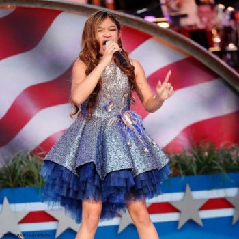 Angelica Hale 4th of July Capital Celebration Junona Blue Gold Sequin Dress