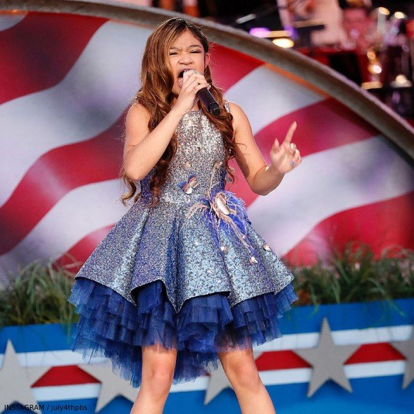 Angelica Hale - Junona Girl Blue & Gold Sequin Special Occasion Dress