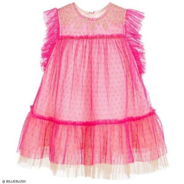 Billieblush Baby Girl Pink & Gold Tulle Dress