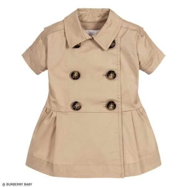 Burberry Baby Girls Beige Cotton Trench Dress