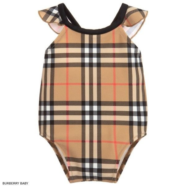 Burberry Baby Girls Check Swimsuit