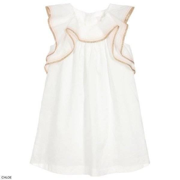Chloe Girls Ivory Gold Cotton Dress
