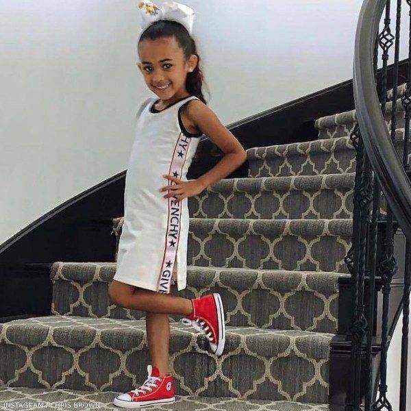 Chris Brown Daughter Royalty Givenchy Girls White Logo Dress