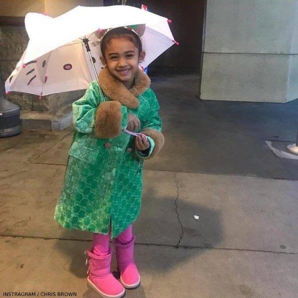 Chris Brown Daughter Royalty Gucci Girls Green GG Velvet Coat