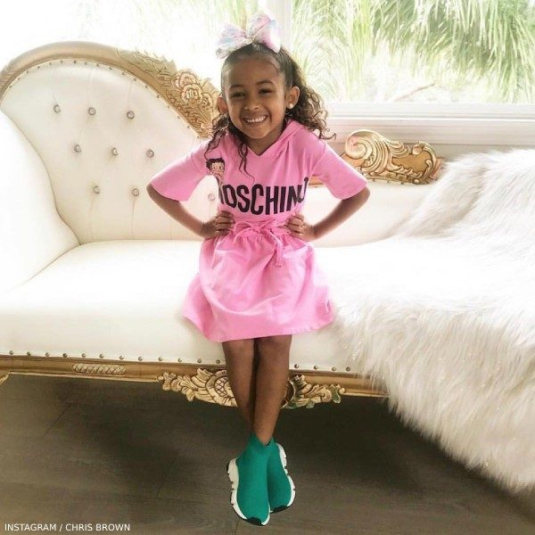 Chris Brown Daughter Royalty Moschino Kid Girls Pink Hooded Moschino Dress