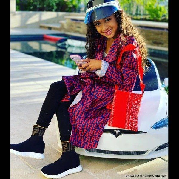 Chris Brown's Daughter Royalty Brown Fendi Kids Black Sock Sneakers