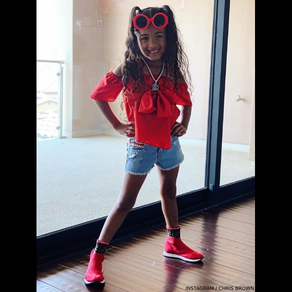 Chris Brown's Daughter Royalty - Fendi Kids Red Logo Sock Sneakers