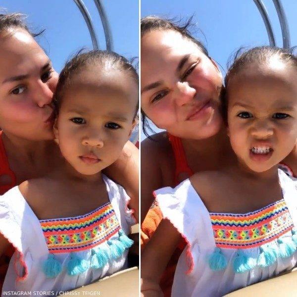 Chrissy Teigen Daughter Luna Stephens Yacht Portofino Sunuva White Beach Dress