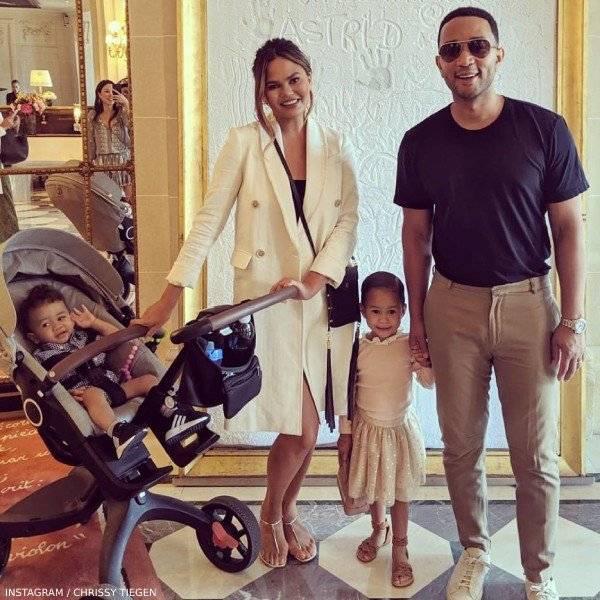 Chrissy Teigen John Legend, son Miles and daughter Luna Stephens Paris France