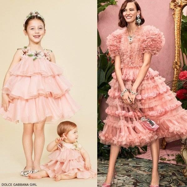 DOLCE & GABBANA GIRL MINI ME PINK TULLE LILY DRESS