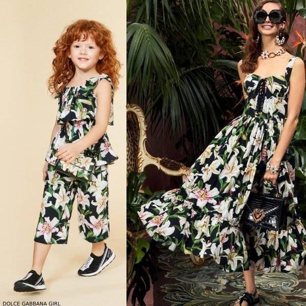 Dolce Gabbana Girl Mini Me Black Lily Print Shirt & Culotte Pants