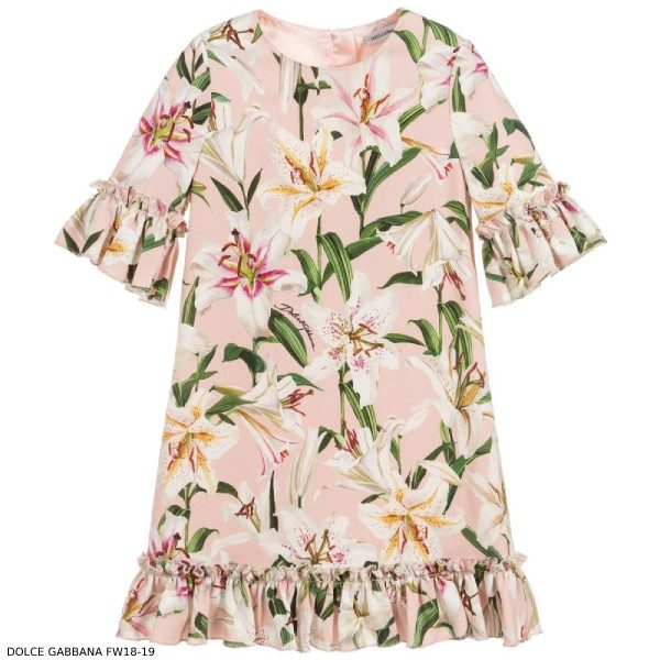 Dolce & Gabbana Girl Mini Me Pink Viscose Crêpe Lily Dress