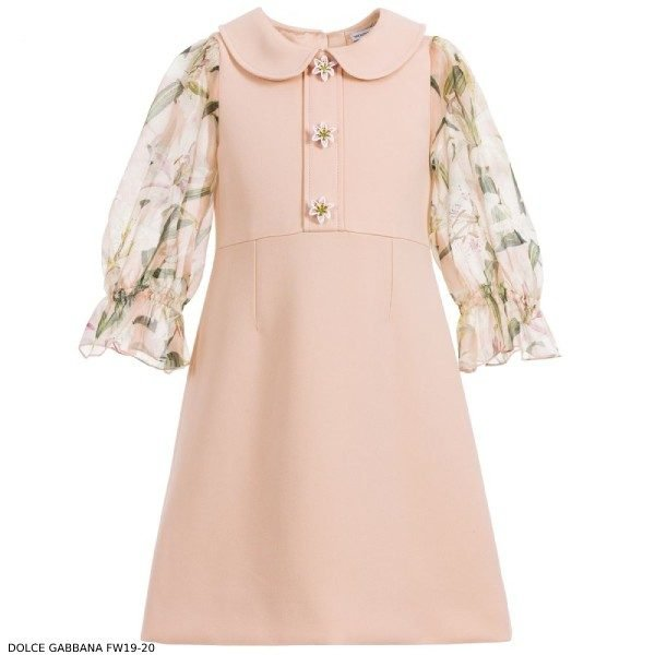 Dolce Gabbana Girl Pink Viscose Silk Dress Lily Sleeves