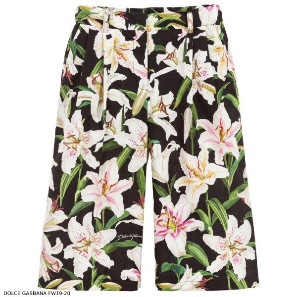 Dolce & Gabbana Girls Black Cotton Lily Culottes