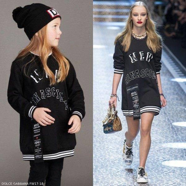 Dolce Gabbana Girls Black Mini Me New Rinascimento Sweater Dress
