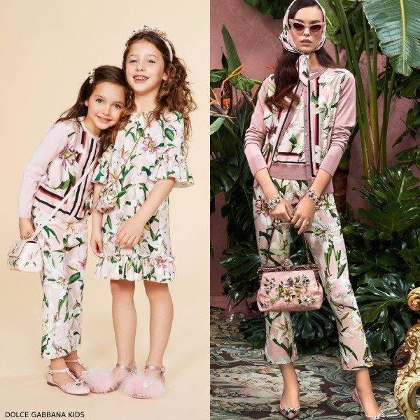 Dolce Gabbana Girls Mini Me Lilium Sweater Lily Print Pants