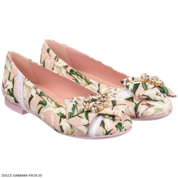 Dolce Gabbana Girls Mini Me Pink Silk Floral Shoes