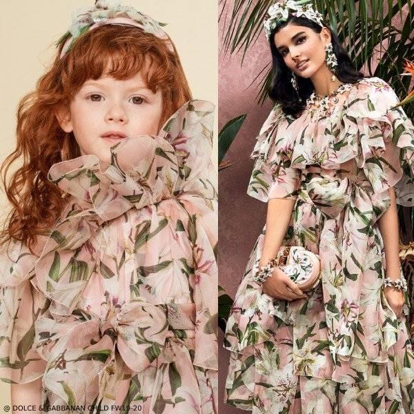 Dolce & Gabbana Girls Mini Me Pink Lily Print Silk Chiffon Dress
