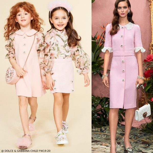 Dolce & Gabbana Girls Pink Lily Sleeve Dress