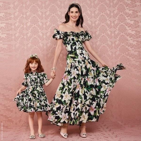 Dolce & Gabbana Girls Mini-Me Black Lily Print Dress