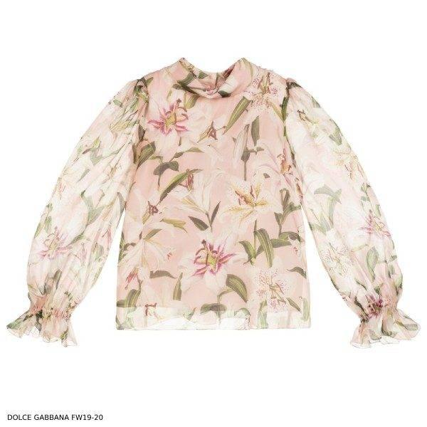 Dolce Gabbana Girls Pink Silk Organza Blouse