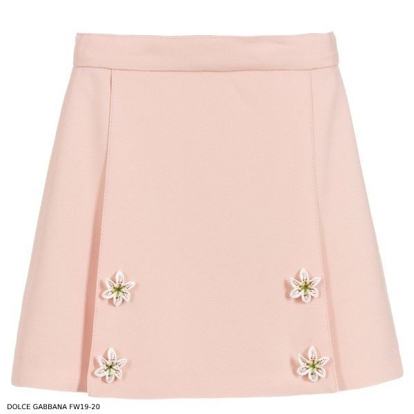 Dolce Gabbana Girls Pink Viscose Crepe Skirt
