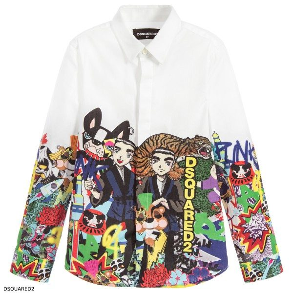Dsquared2 Boys Mini Me White Manga Shirt