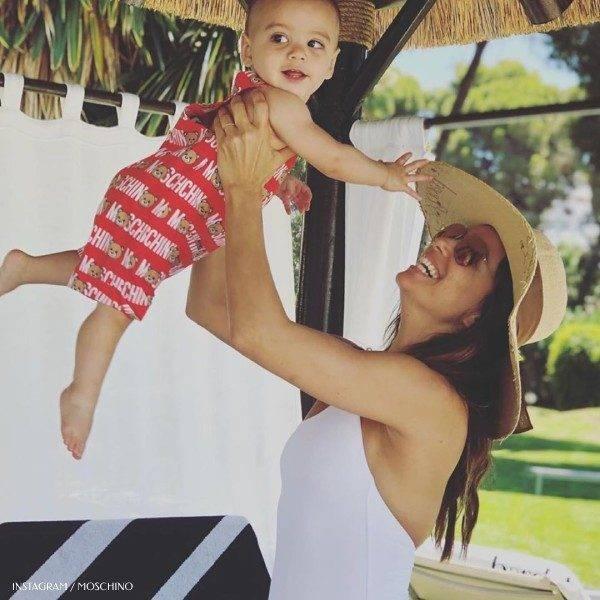 Eva Longoria Son Santiago Moschino Baby Boy Teddy Overalls