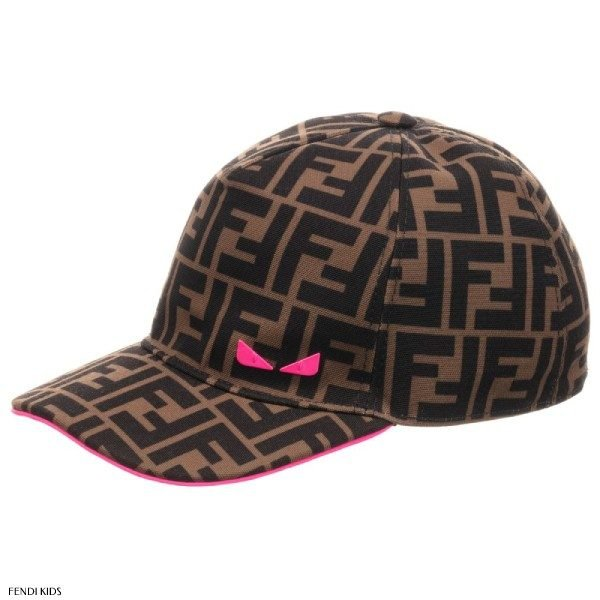Fendi Brown Girls Canvas Baseball Cap