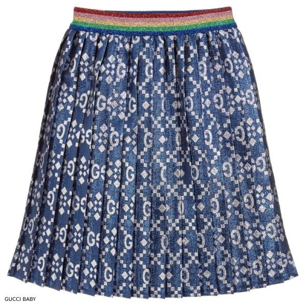 Gucci Baby Metallic Blue Pleated Skirt