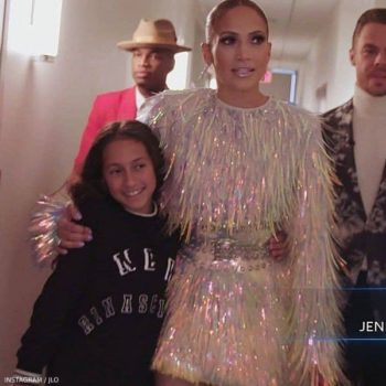 JLo & Daughter Emme on The World of Dance TV SHow Dolce Gabbana New Rinascimento Mini Me Dress