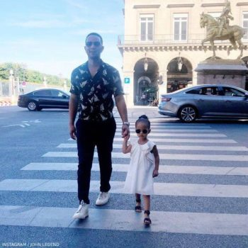 John Legend Daughter Luna Stephens in Paris Chloe Ivory Dress Gold Trim