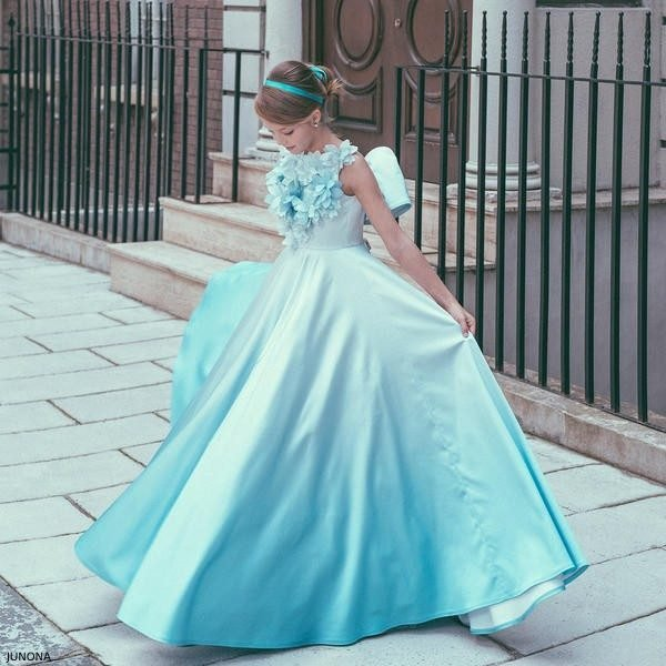 Junona Blue Flower Ombre Special Occasion Dress