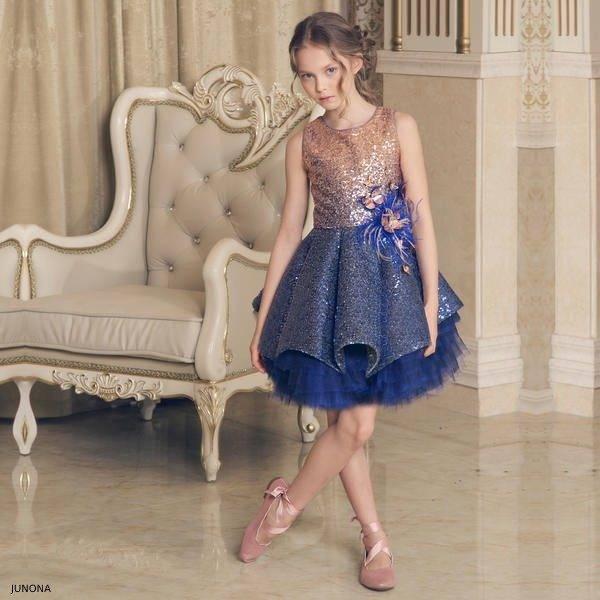 Junona Girl Blue Gold Sequin Party Dress