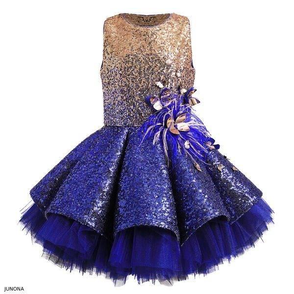 Junona Girl Blue Gold Sequin Party Dress FW18