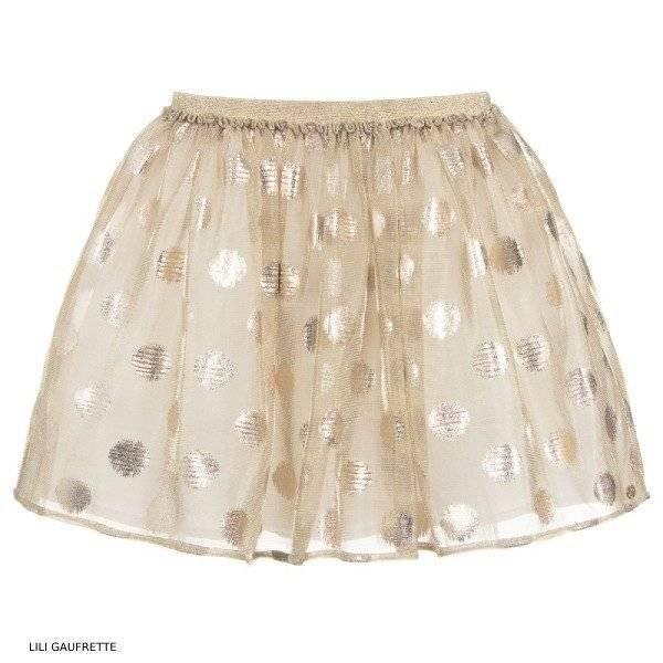 Lili Gaufrette Girls Gold Tulle Skirt
