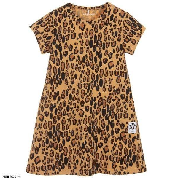 Mini Rodini Girl Leopard Print Brown Organic Cotton Dress
