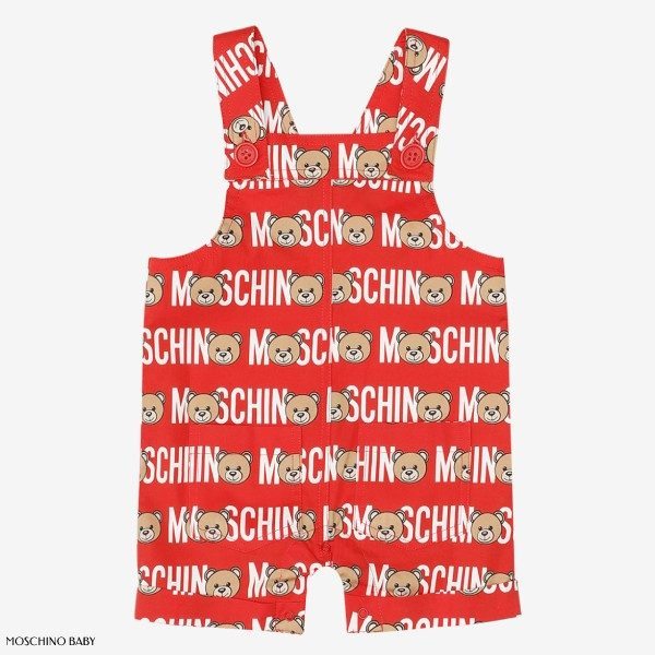 Moschino Baby Boy Red Teddy Overalls
