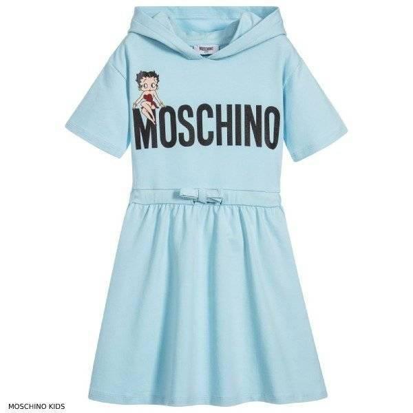Moschino Kids Girls Blue Hooded Betty Boop Dress