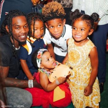 Offset 4 Kids at Kulture First Birthday Kalea Young Versace Gold Baroque Dress