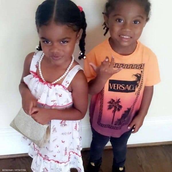 Offset Son Kody Daughter Kaelea Young Versace Boys Orange Sunset Jungle Print Tshirt