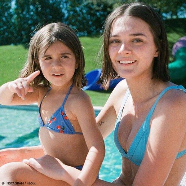 Penelope Disick Mini Me Charlotte Lawrence - Gucci Girl Blue Heart Cherry Bikini