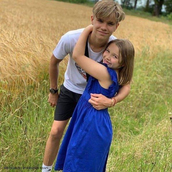 Romeo and Harper Beckham 8th Birthday Bonpoint Blue Liloa Fig Dress