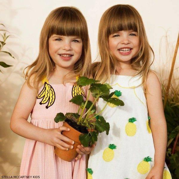 Stella McCartney Kids Girls Pink Banana Print Dress